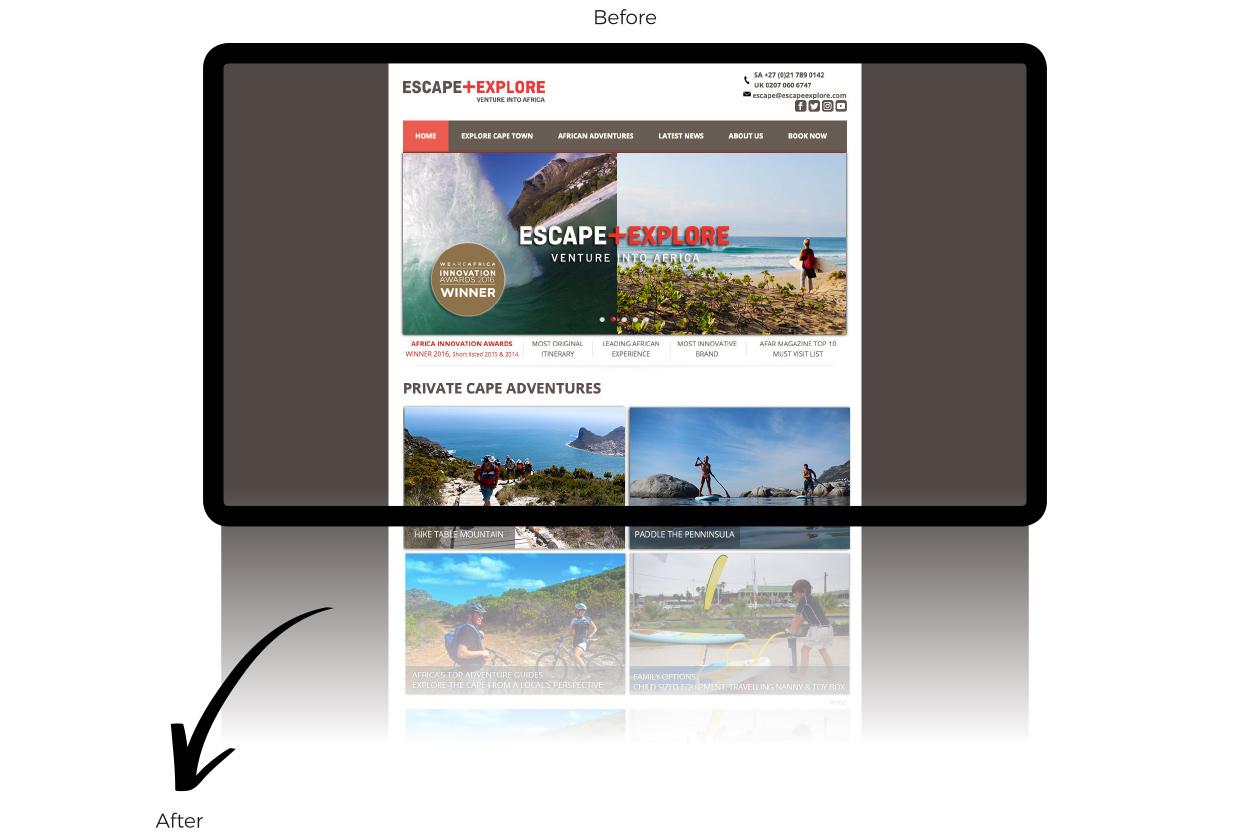 Escape + Explore website design