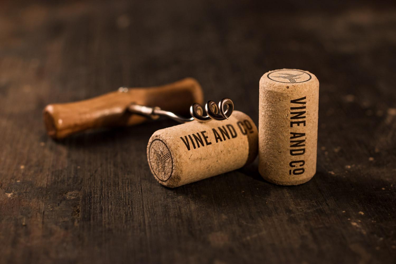 Vine and co logo on cork