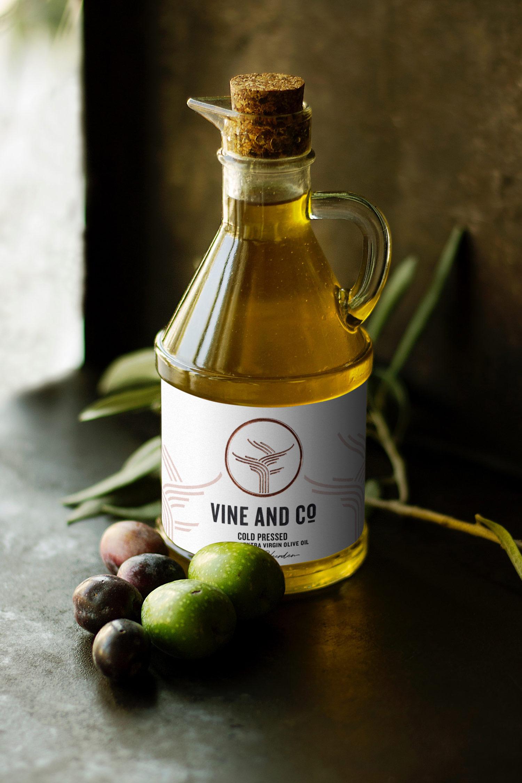 vine and co olive oil label design