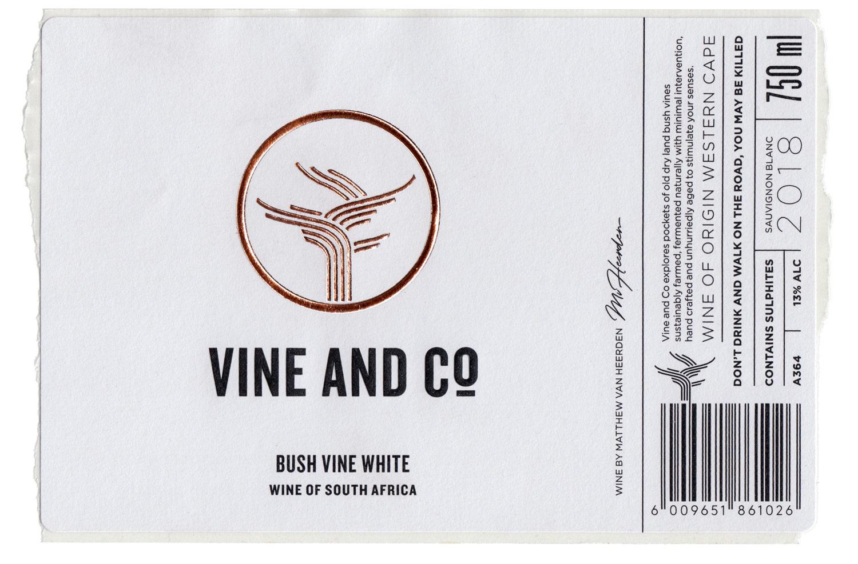 vine and co wine label design bush vine white