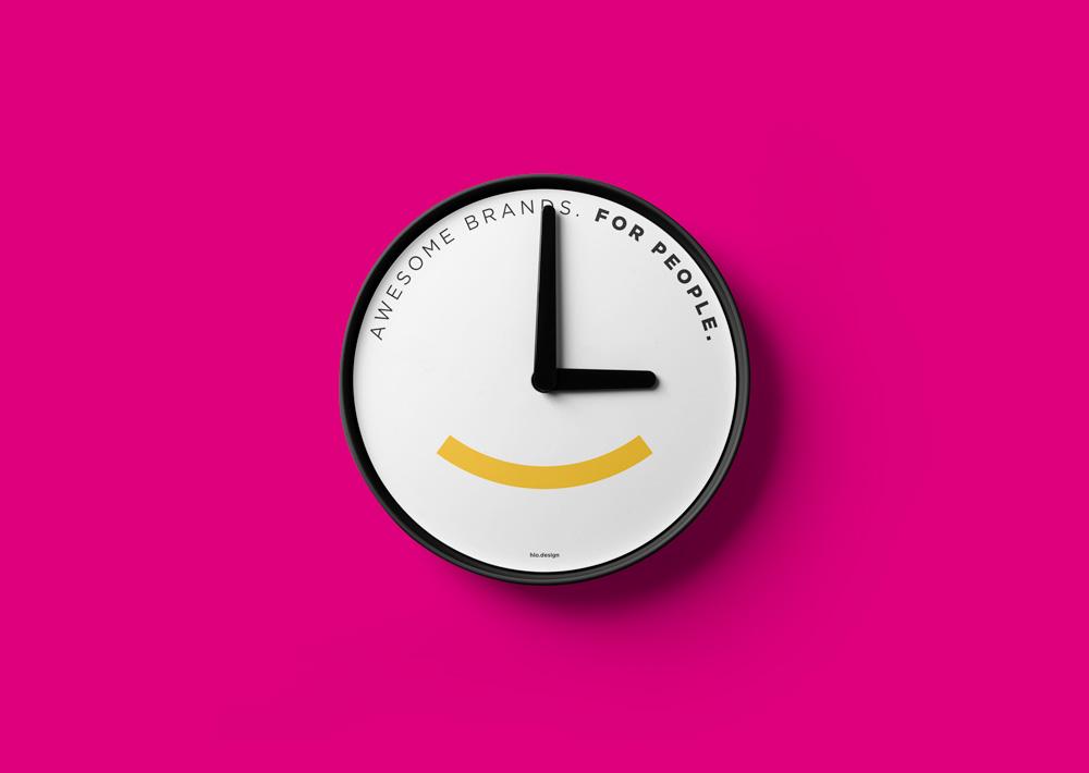 HLO logo on a clock